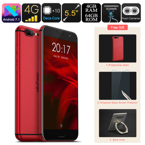 Ulefone Gemini Pro Android Smartphone - Deca-Core CPU, 4GB RAM, Android 7.1, Dual-Lens 13MP Camera, Dual-IMEI