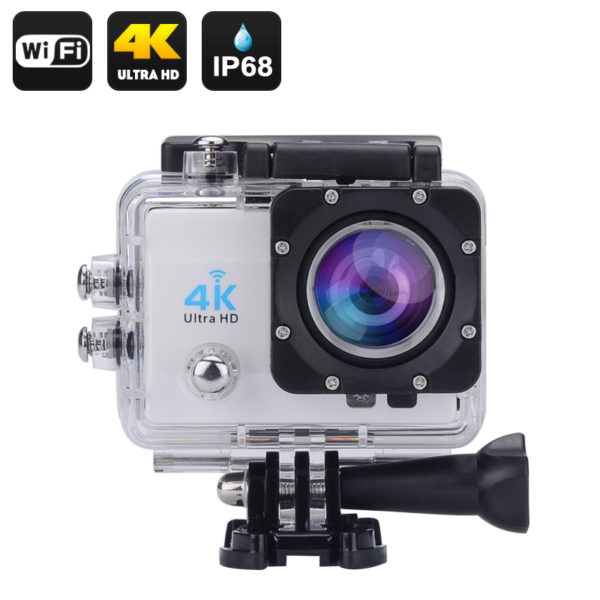 Wi-Fi 4K Waterproof Sports Action Camera - 4K Ultra HD, 16MP,2 Inch LCD Display, HDMI Out, 170 Degree Wide Angle (Silver)
