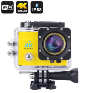 Wi-Fi 4K Waterproof Sports Action Camera - 4K Ultra HD, 16MP,2 Inch LCD Display, HDMI Out, 170 Degree Wide Angle (Yellow)