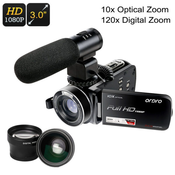 1080p digital camera with a teleconverter, wide-angle lens, and external mic, 1/4-Inch CMOS full-HD, 24MP photographs, 3-Inch LCD display, 64GB SD card